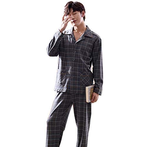 2 Stück Baumwolle Pyjama Bottoms (Herren Pyjama Set, Baumwolle Plaid Knopf Nach Unten Lounge Langarm Shirt und Pyjamahose 2 Stück Home Nachtwäsche Set,L)