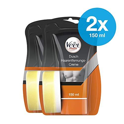 Dusch Enthaarungscreme 2er Pack für Männer für schnelle und effektive Haarentfernung unter der Dusche Veet Men Haarentfernungscreme 2x150ml