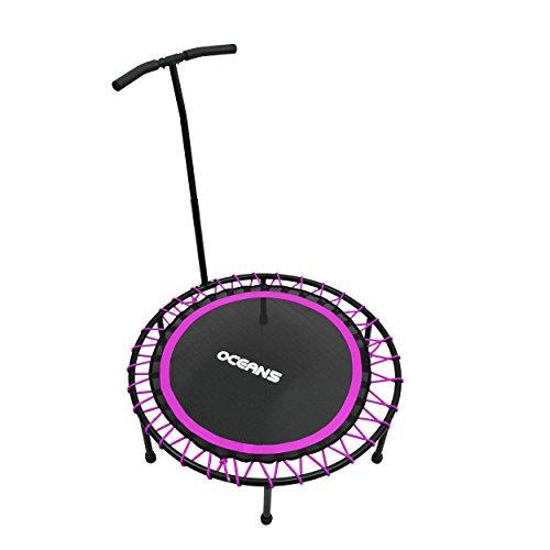 Ocean5 Power Jump 200 Fitness-Trampolin mit Haltegriff, Gesundheitstrampolin, 98 cm Ø, belastbar bis 120 kg, Farbe: lila