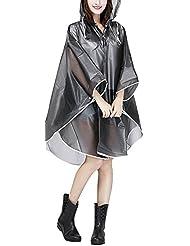 Raincoat Cape de Pluie Femme Portable EVA Manteau Imperméable Poncho à Capuche Moto/vélo Bâche Environnement pour Voyage/Camping/Randonnée/Vacances