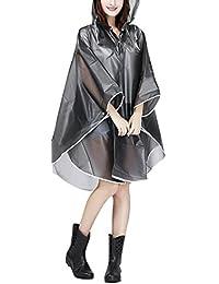 AfinderFR Raincoat Cape de Pluie Femme Portable EVA Manteau Imperméable Poncho à Capuche Moto/vélo Bâche Environnement pour Voyage/Camping/Randonnée/Vacances