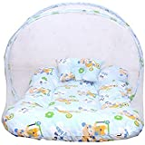 New Born Baby Bed Set Mattress With Mosquito Net & Pillow Bedding(Color May Vary From Picture)