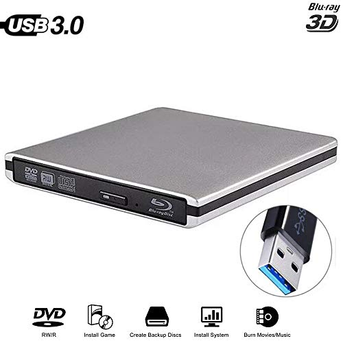 HM2 USB 3.0 externes DVD-Laufwerk Blu-Ray Combo BD-ROM 3D-Player DVD-RW-Brenner Writer, Plug and Play für Laptop-Computer Mac PC,Grau