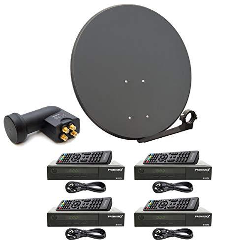 PremiumX digital 4 Teilnehmer SAT Anlage 80cm Antenne Anthrazit mit Quad LNB 0,1 dB 4K und 4X Satelliten Receiver DVB-S2 HDTV Sat-hdtv-antenne
