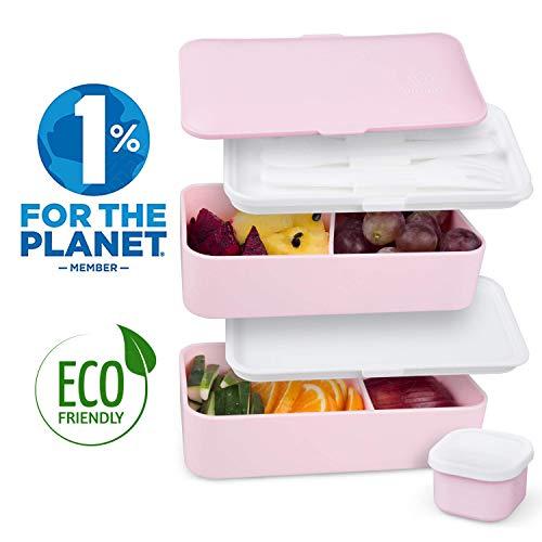 Umami® ⭐ lunch box rose kawaii | porta pranzo ermetico 2 scomparti e 3 coperchi con posate e porta condimento | per microonde e lavastoviglie | contenitori alimentari bento box portatile | no bpa