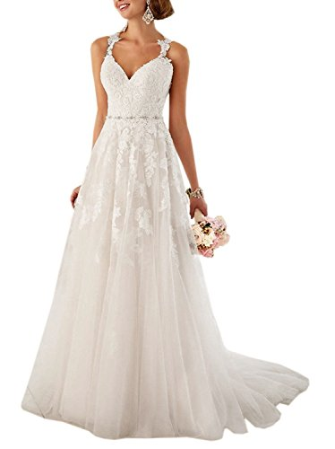 Aurora dresses Damen Elegant Hochzeitskleider Lang Spitze Brautkleider Schatzhals Brautjungfern...