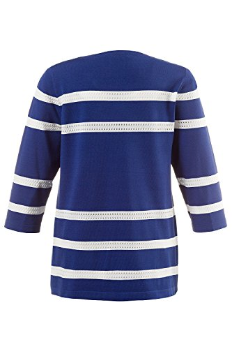 Ulla Popken Femme Grandes tailles Pull Tricot - Pull sexy en dentelle - Manches 3/4 708667 bleu roi