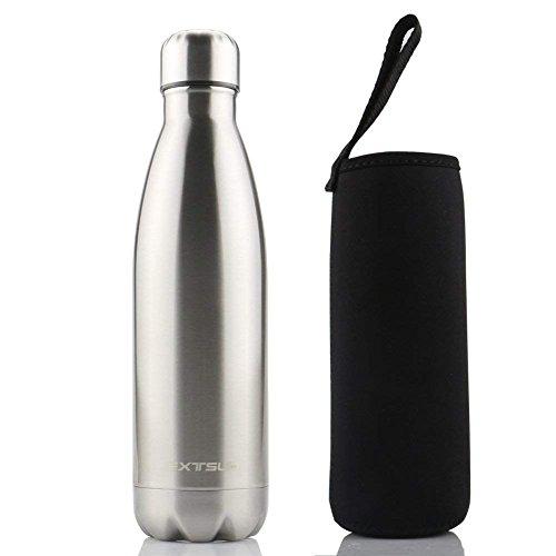 EXTSUD 500ml Bottiglia Termica in Acciaio Inox Borraccia Termos Mantiene 24 Ore Freddo 12 Ore Caldo Chiusura Ermetica Senza BPA Bottiglietta Sottovuoto per Outdoor Scuola Inverno/Estate (Argento)