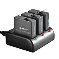 Artman GoPro Hero 5/6/7 1500mah Replacement Batteries (3 Pack) and 3-Channel LED USB Charger for GoPro Hero 5 Black, AHDBT-501, Hero(2018),Hero 6,Hero 7 Black(Fully Compatible with Original)