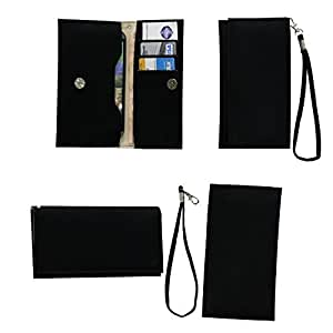 Jo Jo A5 G8 Leather Wallet Universal Pouch Cover Case For Micromax A54 Smarty 3.5 Black