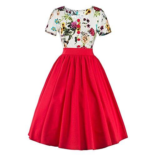 02b2fb37a15ebe JOTHIN 2017 Damen Bedrucktes Rockabilly Kleid Frauen Kurzarm Swing  Abendkleid Große Größen Rot