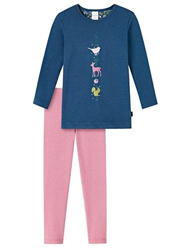 Schiesser Mädchen Zweiteiliger Md Schlafanzug Lang, Blau (Dunkelblau 803), 140 (Mädchen Lange Schlafanzug)