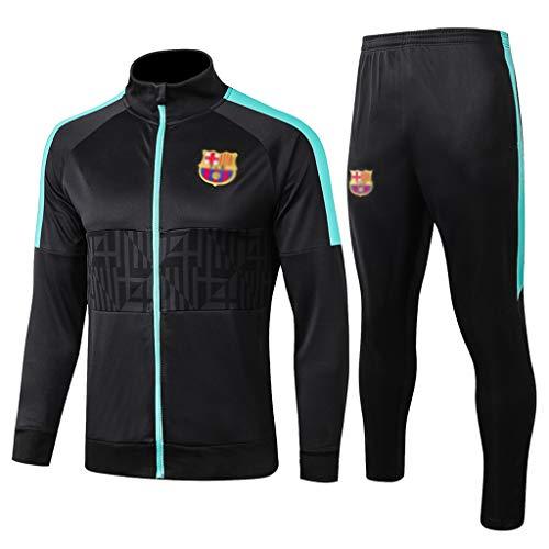 European Football Club Lang Kragen Sportfußballtraining Uniform dunkelgraue Jacke Sweatshirt (Verschiedene Größe Choices) -CMKA0568 (Color : Black, Size : M)