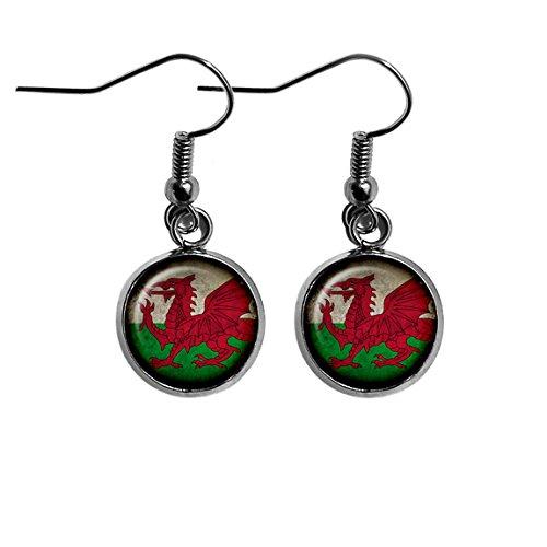 Wales Welsh Walisisch Flagge Chirurgenstahl Ohrringe