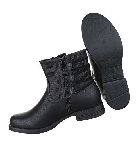 Stiefeletten Used Optik Boots Schwarz Damen Biker Schuhe d1pSwAcd8q