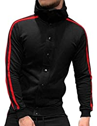 Piebo Hiver Homme Solide Parka Sweat Tops Hooded Cardigan Solide Bouton  Poche Loisirs Lâche Hoodie Blouson Rayé Manche Longue… d9f42ada039