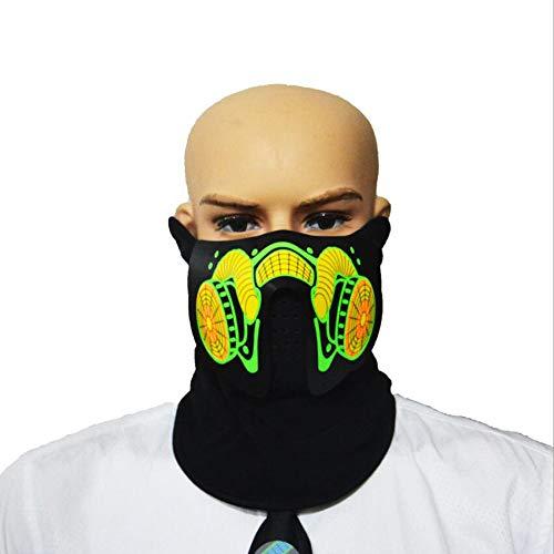 EL Voice-Activated Licht Maske LED Sound Control Nacht Reiten Maske Für Halloween Party Bar Kostüm Dekoration Cosplay