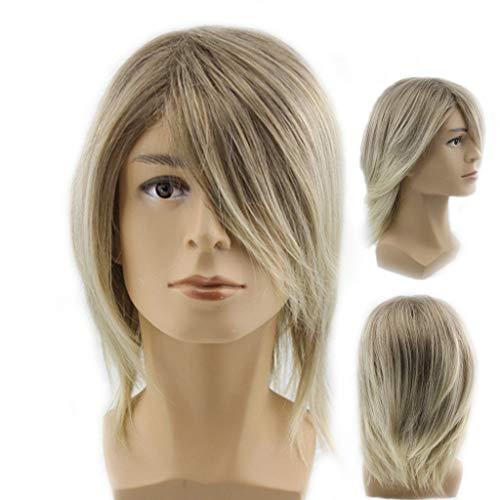 Herrenperücke, Koreanische Version des Männlichen Haares hübsches kurzes Haar Goldenes Gerades Haar schräge Ponyperücke Anime Cosplay 20cm Zolimx (Engel Schwarzen Anime Haaren Mit)