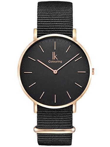 en Armbanduhr Quarz Rose-Gold mit NATO-Armband schwarz Ultra-flach Slim-Uhr ()
