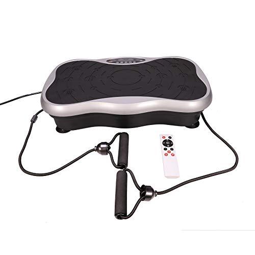 Pinty Vibrationsplatte Vibrationstrainer Fitness Rüttelplatte Sport Trainingsbänder Fernbedienung 99 unterschiedliche Geschwindigkeiten Oszillationstechnologie Farbauswahl (Silber ohne Räder)
