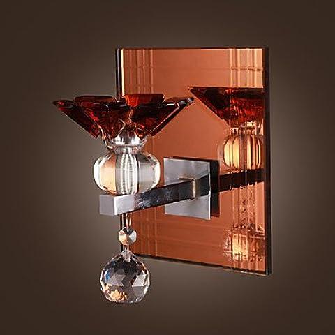Acento de 1W de cristal de pared con placa de acero inoxidable en el Diseño floral