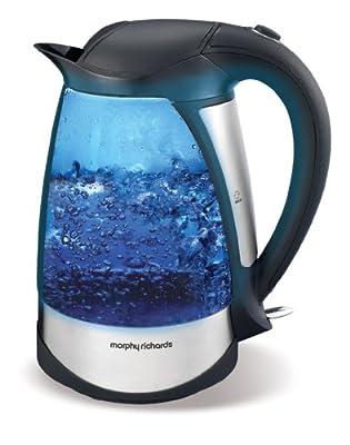 Morphy Richards 43128 Bouilloire électrique 1,7 litre 2200 W Sans fil Illumination bleue pendant l'ébullition Verre teinté