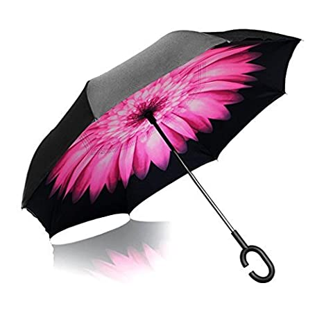 iTrunk Double Layer Reverse Folding Umbrella With C-Shaped Hands free Handle - UV Protection Windproof Waterproof for Outdoor and Car Use Daisy