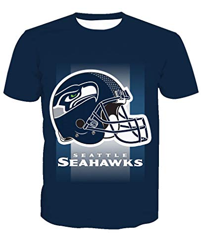Team Kevin T-shirt (Männer 3D T-Shirt Seattle Seahawks NFL Fußball Team Uniform Doppelseitiger Helm Muster Digitaldruck Liebhaber Shirt(XXL,Dunkelblau))