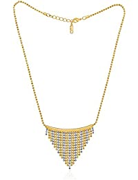 Peora 18K Gold Plated Beaded Pendant Neck Chain For Women And Girls