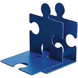 Han Puzzle - Sujetalibros (2 unidades, 123 x 142 x 171 mm, también apto para CDs), diseño de pieza de puzzle, color azul
