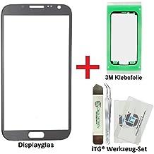 iTG® PREMIUM Juego de reparación de cristal de pantalla para Samsung Galaxy Note 2 Gris (Titanium Grey) - Panel táctil frontal oleofóbico para N7100 N7105 LTE + 3M Adhesivo precortado y iTG® Juego de herramientas