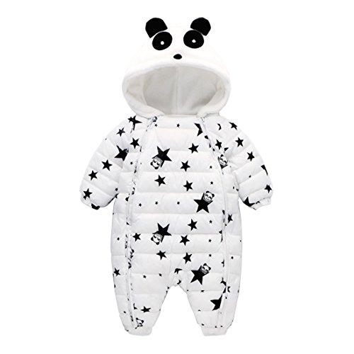 GWELL Baby Overall Panda Sterne Winter Flanell gefüttert Strampler Jumpsuit mit Kapuze Spielanzug Tierkostüm für Jungen Mädchen Weiß 100 (Flanell Spieler)