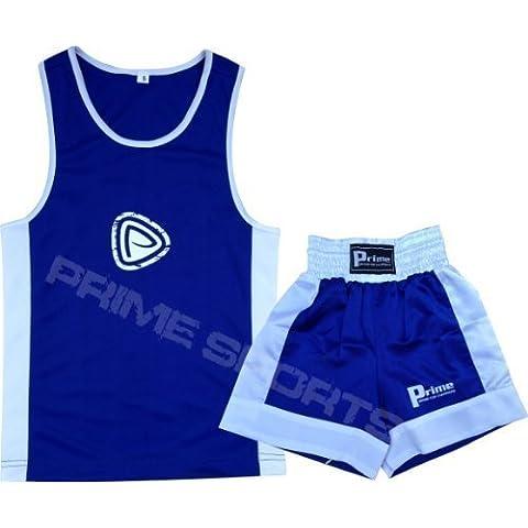 Uniforme de boxeo para niños, juego de dos piezas, top y pantalones cortos en azul y blanco para niños 11 a 12