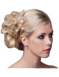 SEXYHER Atemberaubende Haar-Kamm mit Blumen und Kristallen - SH-DL-H0451