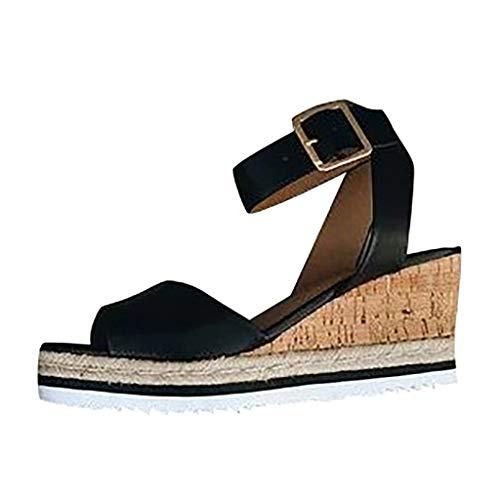 LUGOW Damen Böhmen Sandalen Schnalle Sandalen Pantoletten Hausschuhe Flatform Ankle Buckle Sandalen Römische Keilabsatz Schuhe Zehentrenner Espadrille Pumps(43,Schwarz)