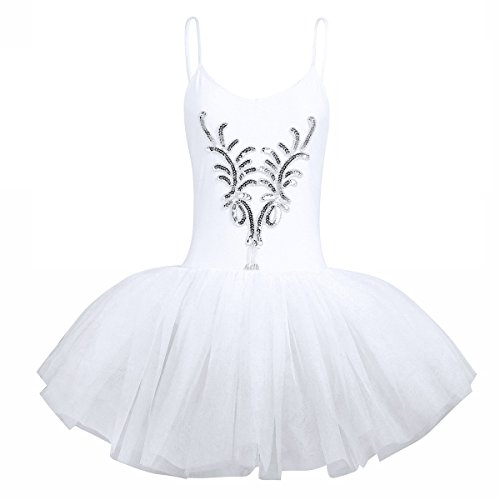 CHICTRY Damen Ballettanzug Ballett Tütü Trikot Anzug Damenkleider Ballettkleid Tanz Kostüm Leotard Sets mit Armband Weiß Medium (Ballet Tutu Tanz Kostüm)