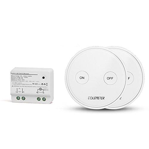 Funkschalter Set, COLEMETER Funk Schalter Funk Wandschalter 30M Reichweite Wireless Schalter mit Empfänger keine Leitungsverlegung für Eletrogerät