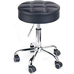 Leader Accessories Tabouret à roulettes, Tabouret de Travail PU Pivotant à 360°,Tabouret Réglable avec Roues,Coussin d'assise 35cm,Taille,S,Noir
