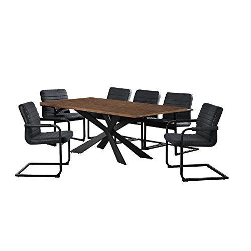 [en.casa] Esstisch Walnuss mit 6 Stühlen Freischwinger gepolstert schwarz 200x100cm Esszimmer Essgruppe Küche