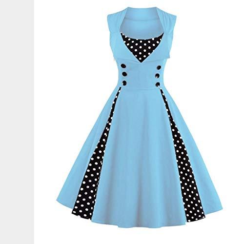 JJHR Kleider Frauen Robe Retro Vintage Kleid 50Er Jahre 60Er Jahre Rockabilly Dot Swing Pin Up Sommer Party Kleider Elegante Tunika Lässig, 4XL