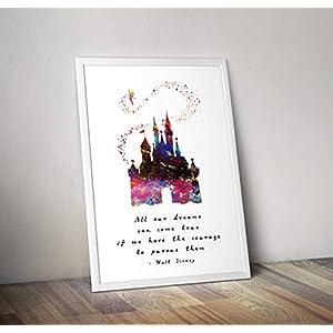Aschenputtel inspiriert Aquarell Poster – Schloss – Zitat – Alternative TV/Movie Prints in verschiedenen Größen (Rahmen nicht im Lieferumfang enthalten)