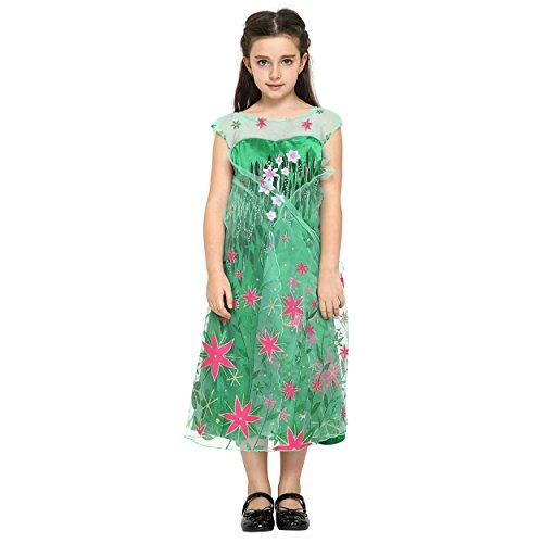Imagen de disfraz de elsa  frozen fever  traje de princesa o de hadas con tiara  vestido verde floral  ideal para cosplay  para niñas de 3 4 años alternativa
