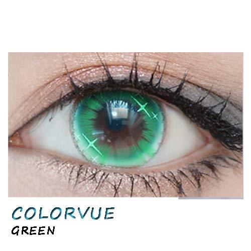 weiche Farblinsen Kontaktlinsen farbig + Behälter 1 Paar (2 Stück) ohne Stärke I 0.00 Dioptrien COLORVUE GREEN