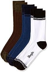 Wrangler Mens Socks (Pack of 3) (8904233608403) (RDW-2365-C111_Dark Blue, Brown and White)