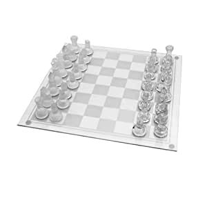 Large Glass Chess Set 35 X 35 Cm Toys Games