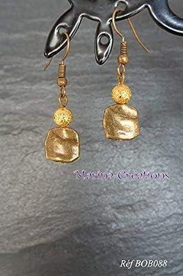 Boucles d'oreilles Bronze ethnique chic, tons bronze et or, perles doré irisé stardust Réf BOB088