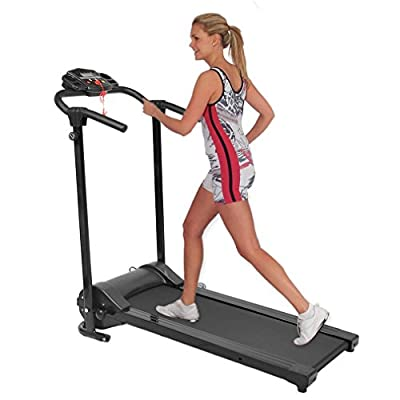 Blackpoolal HSM-T07B Electric Motorised Treadmill Folding Running Machine Incline Low Noise Fitness Equipment with LCD Display for Home Exercise Black by Blackpoolal