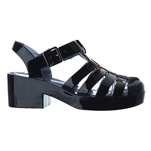 Black Platform Gladiator grösse Chunky Neuen Damen Schuhe Sandalen Block Heel Buckle qz0nRR