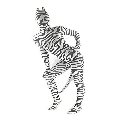 Manbozix Kinder Erwachsene Halloween Tiere Motiv Kostüm mit Maske für Fasching Karneval Cosplay Rollspielen, Zebra - Wild Zebra Für Erwachsenen Tier Kostüm