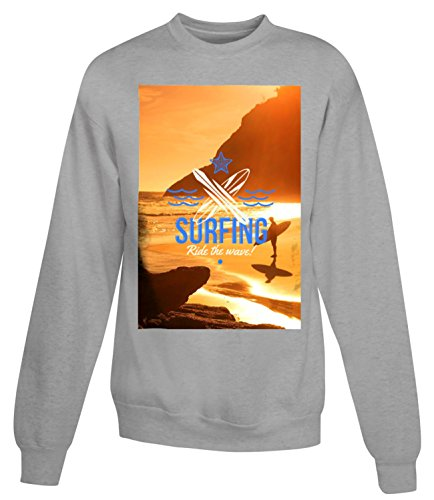 Billion Group | Surfing Ride The Wave | Extreme Sport | Women's Unisex Sweatshirt Gris